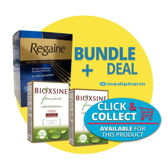 Bundle Deal - Regaine Solution For Men and Women 3 Months Supply + Bioxsine Femina Shampoo & Conditioner - Medipharm Online