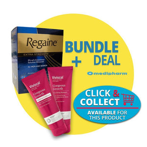 Bundle Deal - Regaine Solution For Men and Women 3 Months Supply + Viviscal Gorgeous Growth Densifying  Shampoo & Conditioner - Medipharm Online