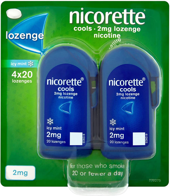 Nicorette Cools Icy Mint 2mg Lozenges 80 Pack