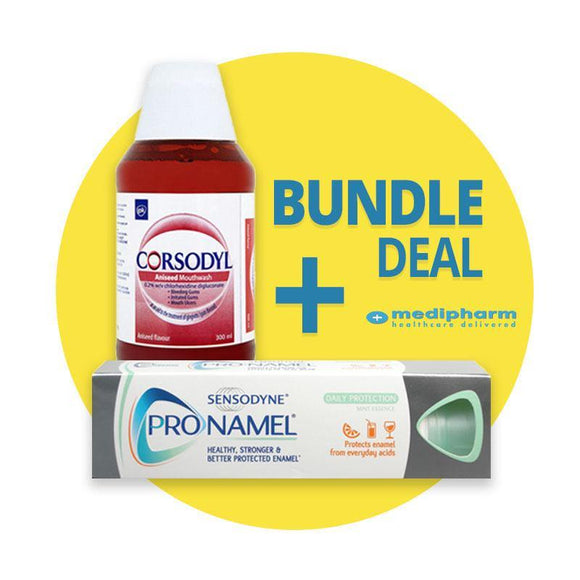 Bundle Deal - Corsodyl Mouthwash Aniseed 300ml + Sensodyne Pronamel - Mint Essence -75ml