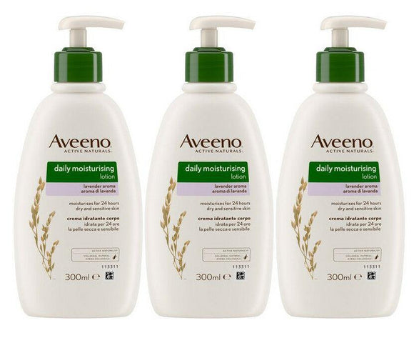 AVEENO DAILY MOISTURISING LOTION LAVENDER PUMP 300ML x 3 PACK