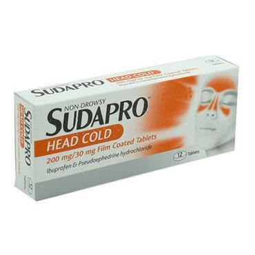 Sudapro Head Cold 200mg/30mg Tablets 12 Pack - Medipharm Online - Cheap Online Pharmacy Dublin Ireland Europe Best Price