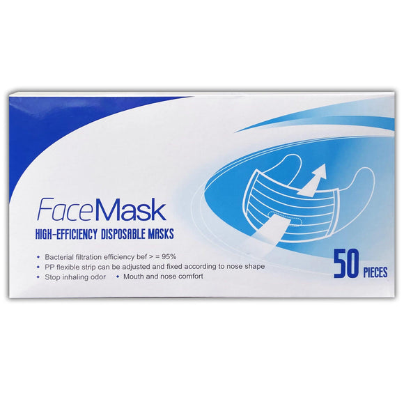 Face Mask High-Efficiency Disposable Pack of 50 - Medipharm Online
