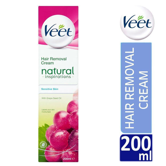 Veet Natural Inspirations Sensitive Skin Hair Removal Cream with Grape Seed Oil 200ml