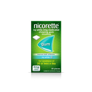 Nicorette Icy White 2mg Medicated Chewing Gum - 30 pieces