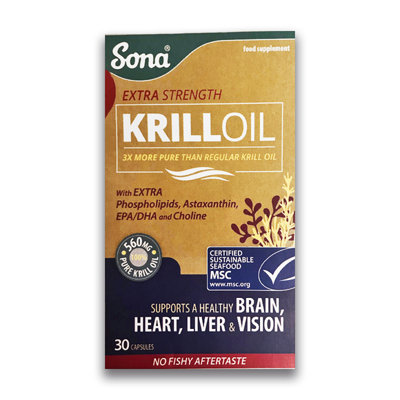 Sona - Krill Oil - Extra Strength - Supports Brain, Heart, Liver & Vision - 30 capsules - Medipharm Online - Cheap Online Pharmacy Dublin Ireland Europe Best Price
