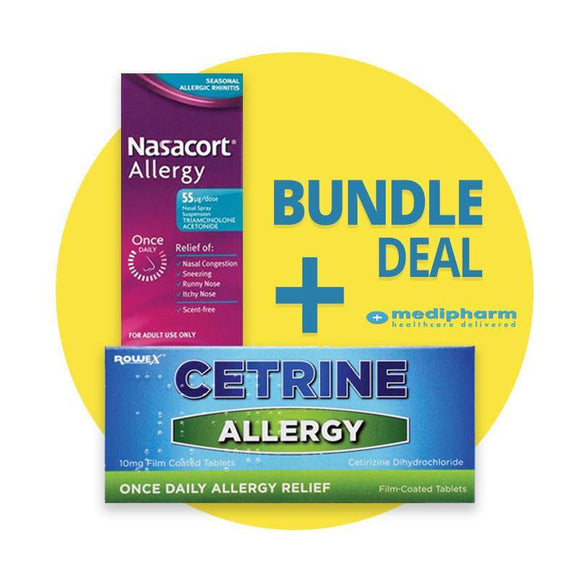 Bundle Deal: Nasacort Allergy Nasal Spray + Cetrine Hayfever Allergy Relief 10mg Cetirizine - 7 Tablets - Medipharm Online - Cheap Online Pharmacy Dublin Ireland Europe Best Price