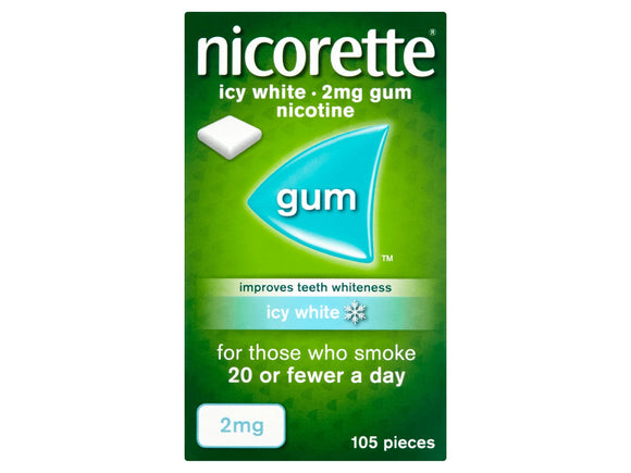Nicorette Icy White 2mg Medicated Chewing Gum - 105 Tabs