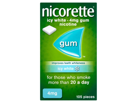 Nicorette Icy White 4mg Medicated Chewing Gum - 105 Tabs