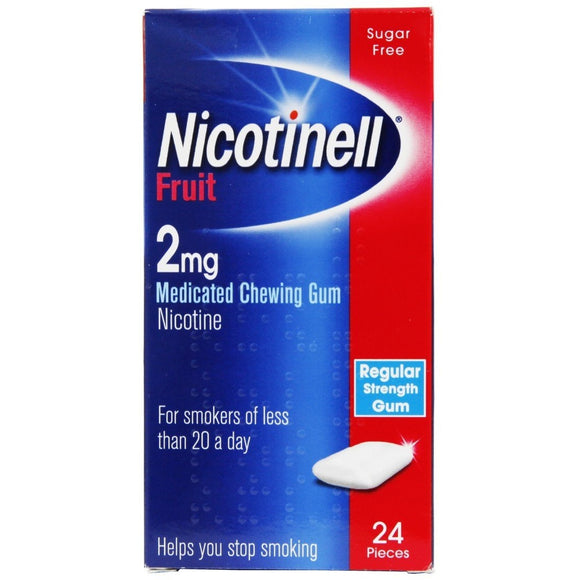 Nicotinell 2mg Gum Fruit Flavour 24 pieces - Medipharm Online Pharmacy Dublin Ireland - medipharm.ie