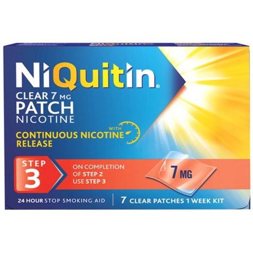 Niquitin Clear Step 3: 7mg x7 Patches - Medipharm Online Pharmacy Dublin Ireland - medipharm.ie