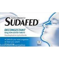 Sudafed 60mg Non-Drowsy Decongestant Film Coated 12 Tablets