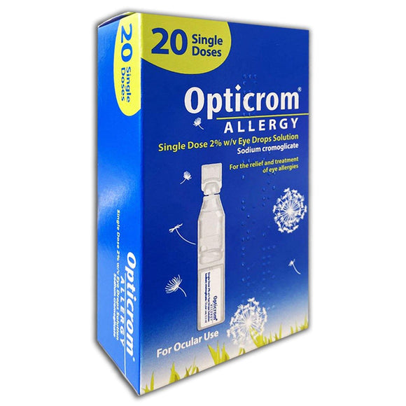 Opticrom Allergy Single Dose 2% Eye Drops 20 Pack - Medipharm Online