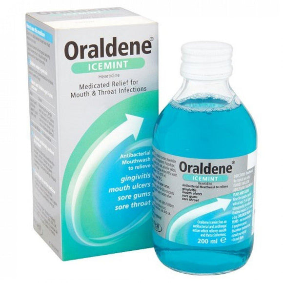 Oraldene Gargle/Mouthwash Mouth & Throat Infections IceMint 200ml - Medipharm Online