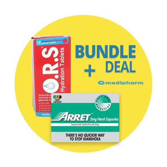 Bundle Deal - Arret Loperamide 2mg Capsules + O.R.S. Hydration Salts - 12 Soluble Tablets