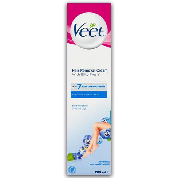 Veet Hair Removal Cream With Silky Fresh For Sensitive Skin Body & Legs 200ml