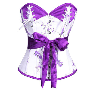 AUTHENTIC STEEL BONED White/Purple Waist Reducing Overbust Corset