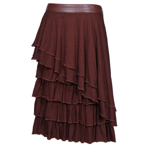 Bushman Cotton Knitted Frilled Mid Steampunk Skirt