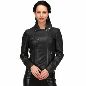 Women's Black Sheep Nappa Washed Look Leather Baby Jacket