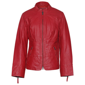 Women's Red Genuine Leather Crop Bomber jacket