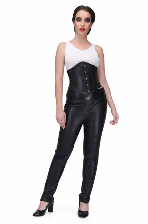 Genuine Leather Black Waist Training Underbust Corset