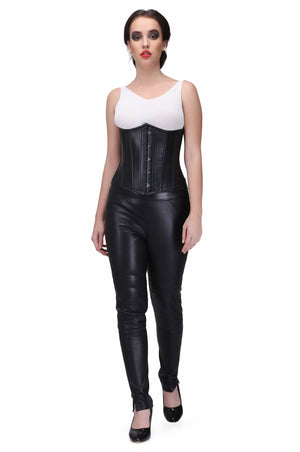 Black sheep nappa leather Steel Boned Waist Reducing Underbust Corset
