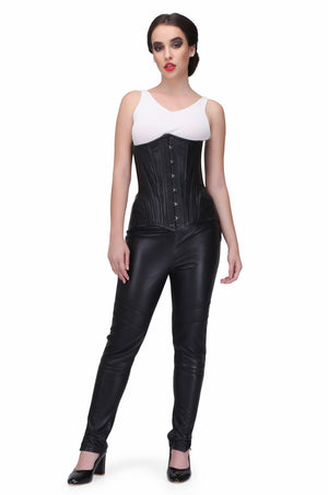AUTHENTIC STEEL BONED SHEEP NAPPA LEATHER WAIST TRAINING OVER BUST CORSET