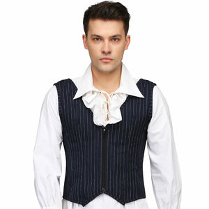 Blue Pin Strap Men's Overbust Corset