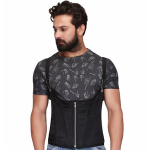 Black Steel Boned Waist Training Underbust Men's Corset