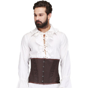 Tiamat Brown Steel Boned Waist Reducing Underbust Men's Corset