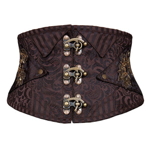Ignacio Steampunk Corset Belt Coffee Black
