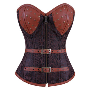 Yesenia Steampunk Overbust Corset Coffee Black