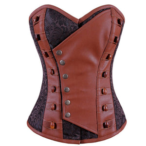 Olalla Steampunk Overbust Corset Coffee Black