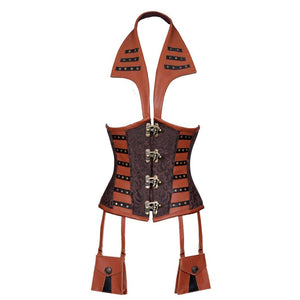 Xuxa Steampunk Devil Collar Underbust Corset Coffee Black