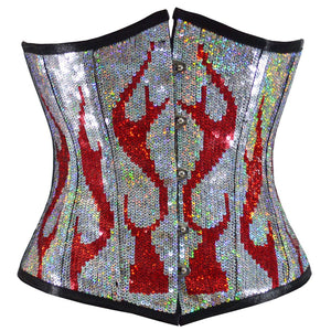 Burning Desire Red Silver Underbust Corset