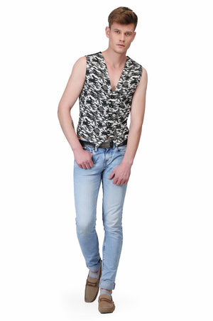 Printed Cotton  Mens Waist Coat
