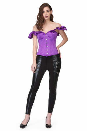 Overbust Drop Shoulder Frill Corset