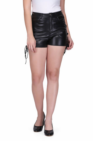 Black faux leather short pant