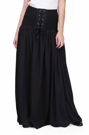 black chiffon long skirt