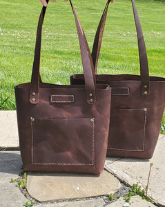 Large Full Grain Leather Tote Bag - Bassy & Co