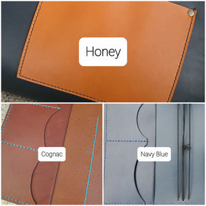 Leather Card Sleeve with Front Pocket, Minimalist