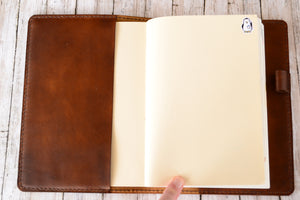 Deluxe A5 Full Grain Leather Planner or Notebook Cover - Hobonichi, Leuchtturm 1917, Moleskine - Bassy & Co