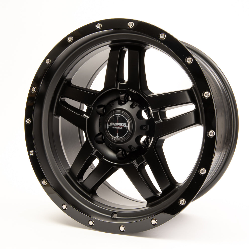 SNIPER WHEELS BARACADE 18 x 9, 6x139.7, +10 Matt Black with Gloss Black Lip set of 4pcs including caps. Flow Formed