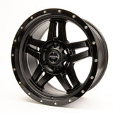 SNIPER WHEELS BARACADE 18 x 9, 6x139.7, +20 Matt Black with Gloss Black Lip set of 4pcs including caps. Flow Formed