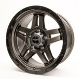 SNIPER WHEELS BARACADE 18 x 9, 5x150, +20 Matt Gun Metallic with Gloss Black Lip set of 4pcs including caps. Flow Formed