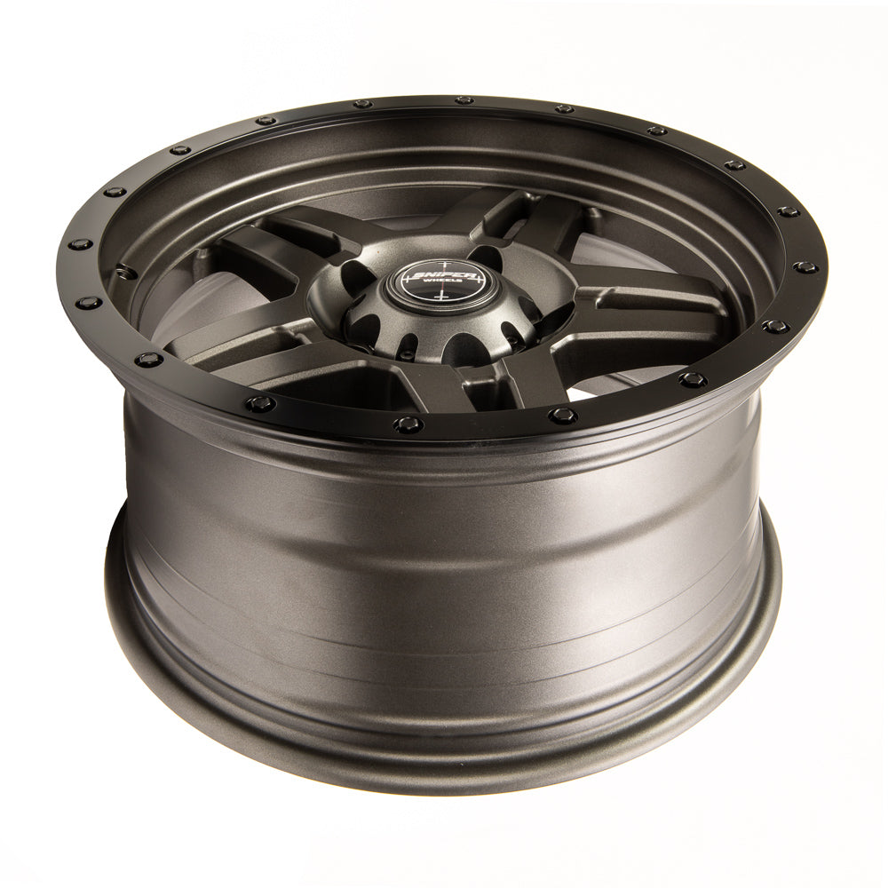 SNIPER WHEELS BARACADE 18 x 9, 6x139.7, +20 Matt Gun Metallic with Black Lip set of 4pcs including caps. Flow Formed