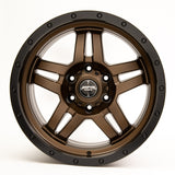 SNIPER WHEELS BARACADE 18 x 9, 6x139.7, +20 Matt Bronze with Black Lip set of 4pcs including caps. Flow Formed