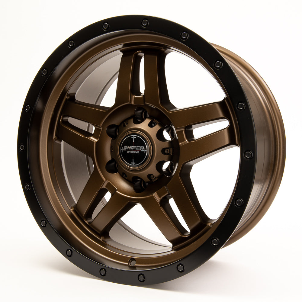 SNIPER WHEELS BARACADE 18 x 9, 6x139.7, +10 Matt Bronze with Black Lip set of 4pcs including caps. Flow Formed