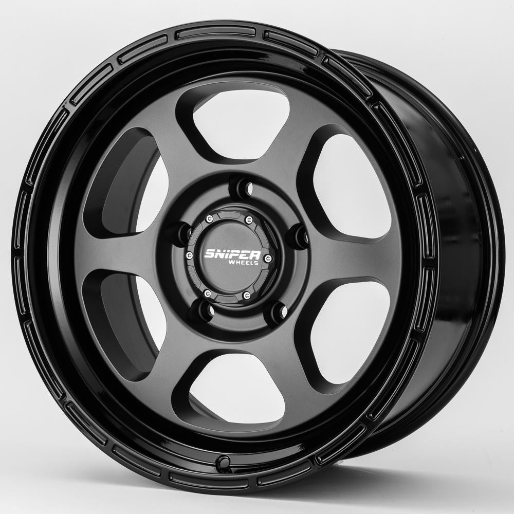 SNIPER WHEELS FRONTLINE 18 x 9, 6x139.7, +0 Matt Gun Metallic with Black Lip set of 4pcs including caps. Load rated 1250kg per wheel.