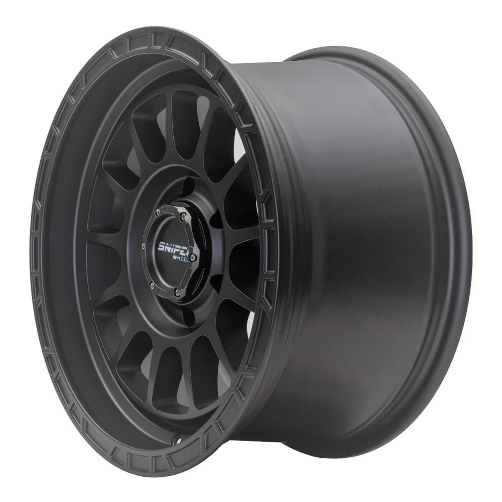 SNIPER WHEELS BALLISTIC 17 x 9, 6x139.7, +25 Matt Gun Metallic set 4pcs with caps. Load rated 1250kg per wheel.
